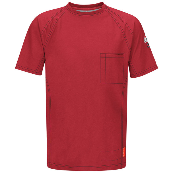 Bulwark FR iQ Series Comfort Knit Short Sleeve T-Shirt QT30 Red Front