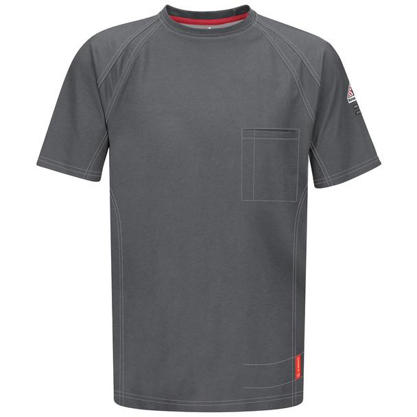 Bulwark FR iQ Series Comfort Knit Short Sleeve T-Shirt QT30 Charcoal Front