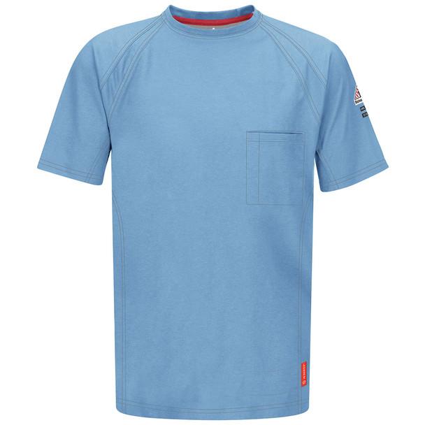 Bulwark FR iQ Series Comfort Knit Short Sleeve T-Shirt QT30 Light Blue Front
