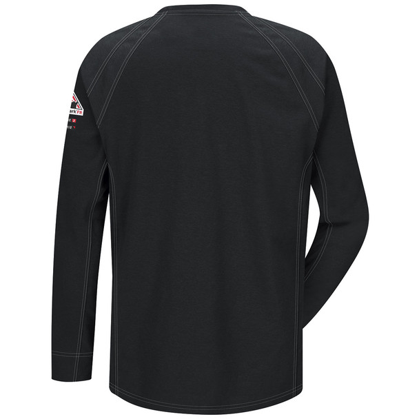 Bulwark FR iQ Series Comfort Knit Long Sleeve T-Shirt QT32 Black Back