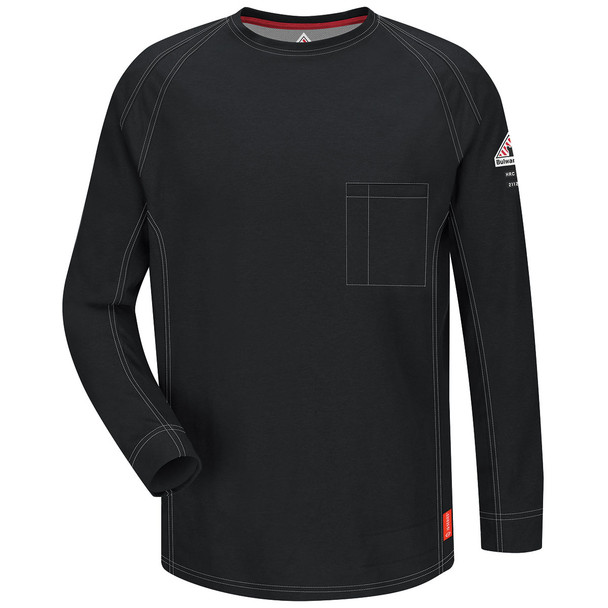 Bulwark FR iQ Series Comfort Knit Long Sleeve T-Shirt QT32 Black Front