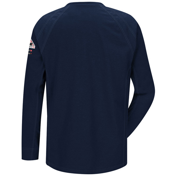 Bulwark FR iQ Series Comfort Knit Long Sleeve T-Shirt QT32 Dark Blue Back