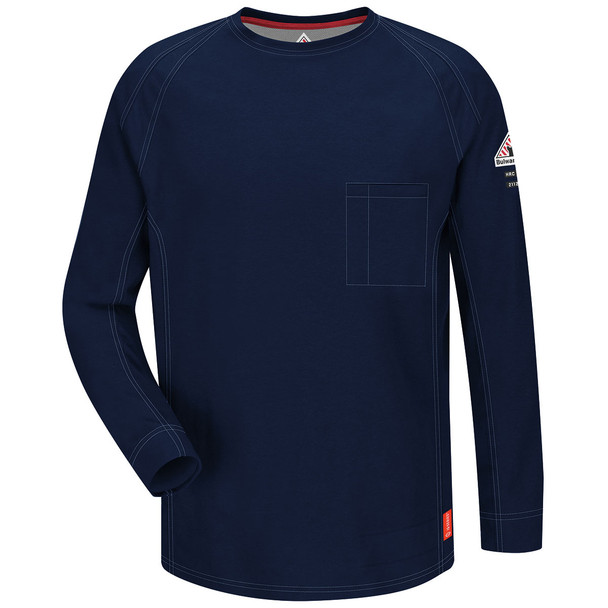Bulwark FR iQ Series Comfort Knit Long Sleeve T-Shirt QT32 Dark Blue Front