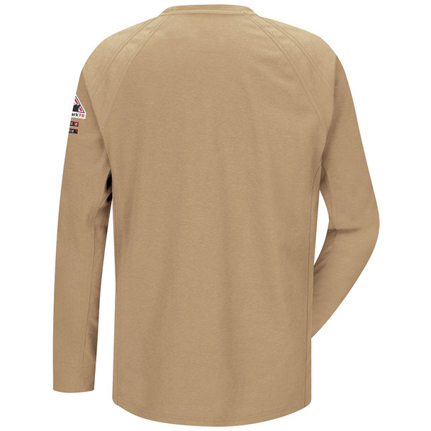 Bulwark FR iQ Series Comfort Knit Long Sleeve T-Shirt QT32 Khaki Back