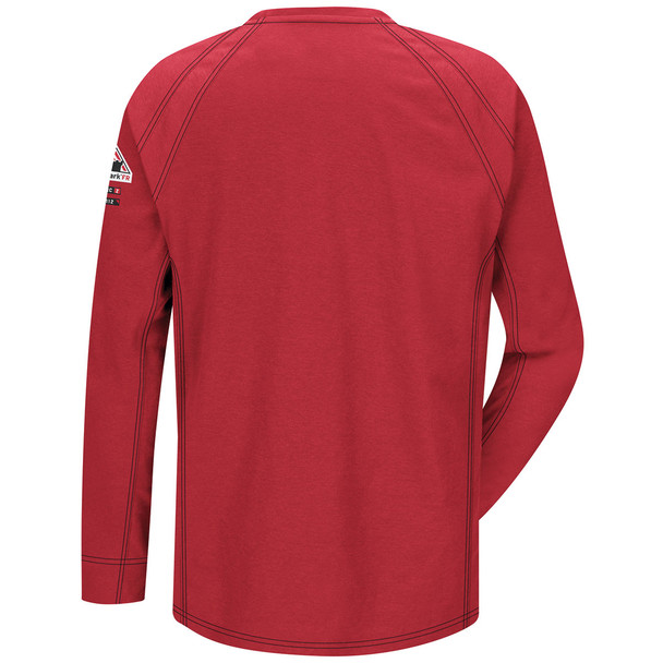 Bulwark FR iQ Series Comfort Knit Long Sleeve T-Shirt QT32 Red Back