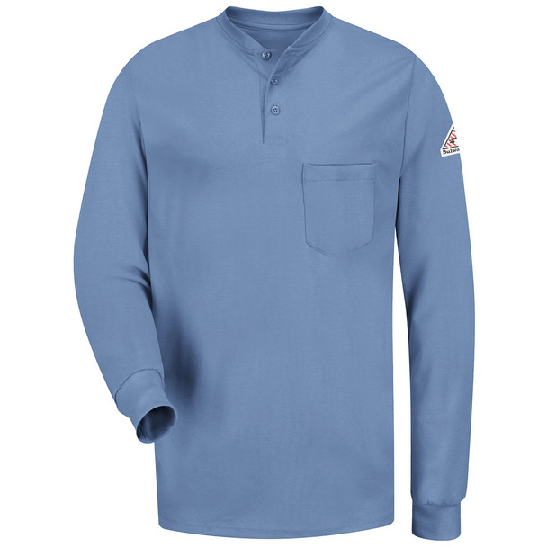 Bulwark FR 6.25 oz. Excel Henley Shirt SEL2 Light Blue Front
