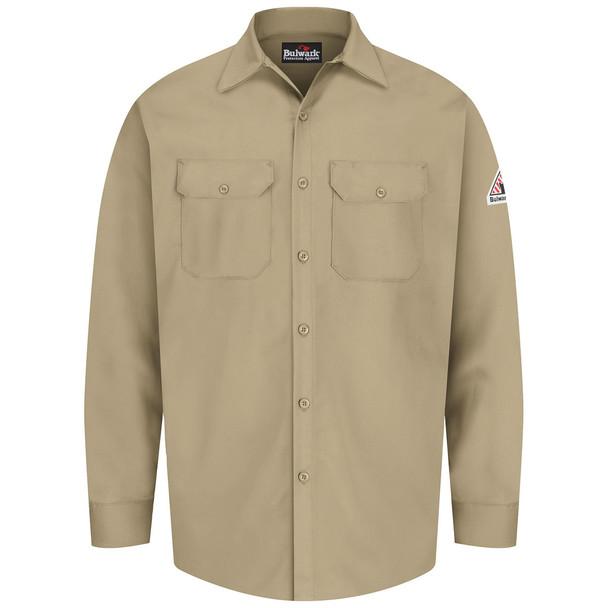 Bulwark FR 7 oz. Excel Dress Shirt SEW2 Khaki Front