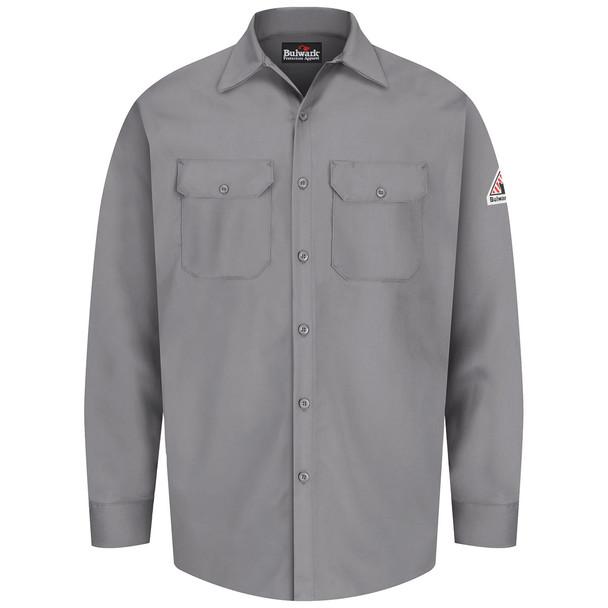 Bulwark FR 7 oz. Excel Dress Shirt SEW2 Silver Gray Front
