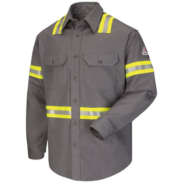 Bulwark FR Enhanced Visibility Uniform Shirt ComforTouch SLDT Gray Front