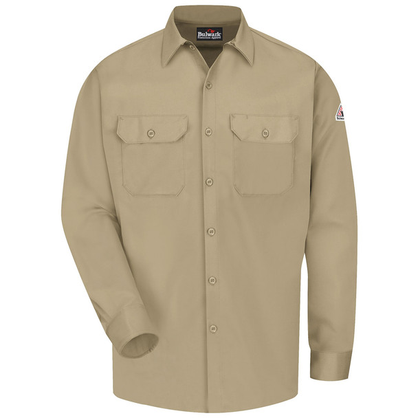 Bulwark FR Comfortouch Excel 7 oz. Work Shirt SLW2 Khaki Front