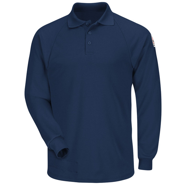 Bulwark FR Cooltouch 2 Long Sleeve Polo Shirt SMP2 Navy Front