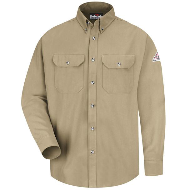 Bulwark FR Dress Shirt 7 oz SMU2 Khaki Front