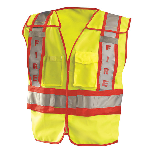 Occunomix Class 2 Hi Vis Yellow Pre Printed Fire Fighter Public Safety Vest LUX-PSF Front