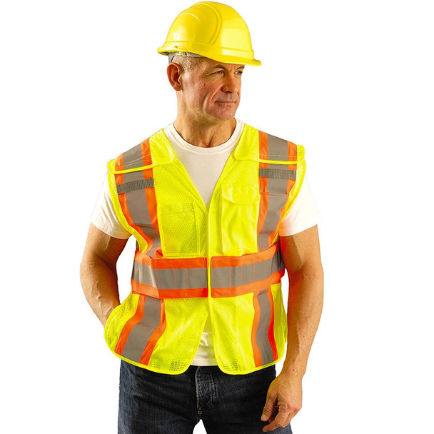 Occunomix Class 2 Hi Vis Yellow Adjustable Safety Vest LUX-SC2TB In Use