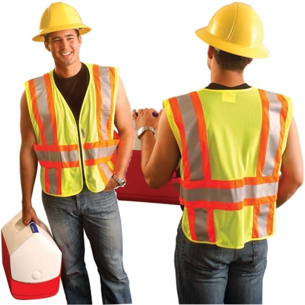 Occunomix Class 2 Hi Vis Yellow Mesh Safety Vest LUX-SC2TZ Front/Back