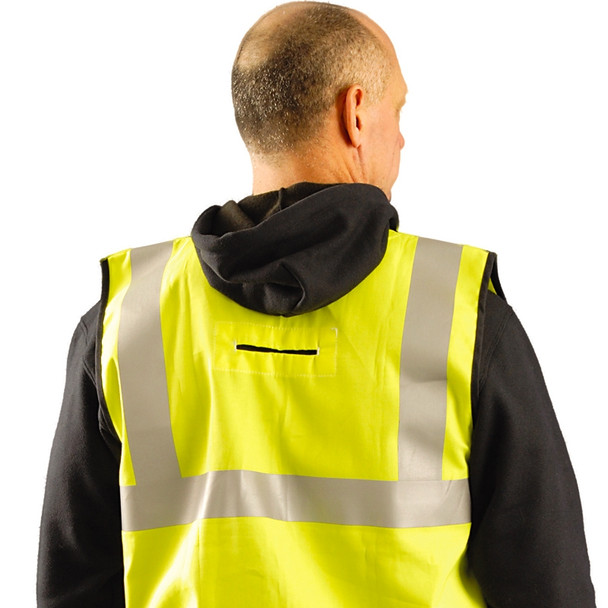 Occunomix FR Class 2 Hi Vis Yellow FR Safety Vest LUX-SSCFGFR Back In Use