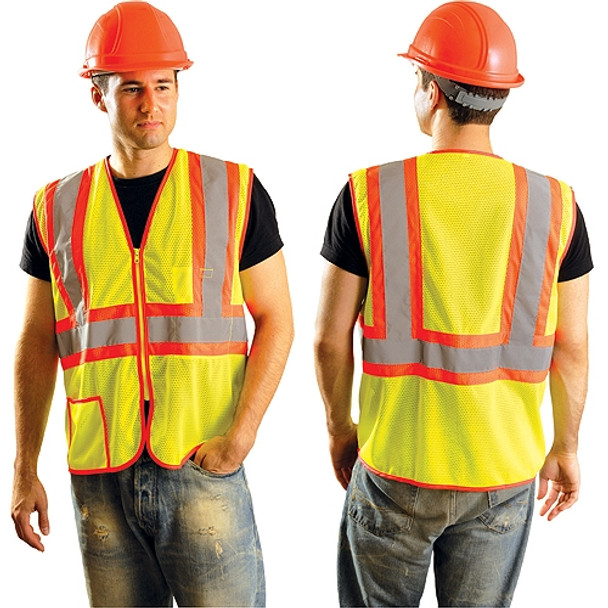 Occunomix Class 2 Hi Vis Yellow Zipper Front Economy Mesh Safety Vest LUX-SSCLC2Z Front/Back