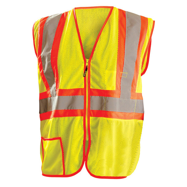 Occunomix Class 2 Hi Vis Yellow Zipper Front Economy Mesh Safety Vest LUX-SSCLC2Z Front
