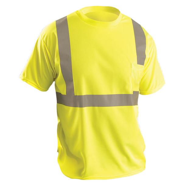 Occunomix Class 2 Hi Vis Moisture Wicking Birdseye T-Shirt with Pocket LUX-SSETP2B Yellow Front