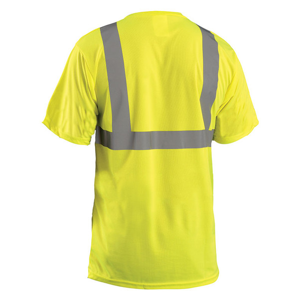 Occunomix Class 2 Hi Vis Moisture Wicking Birdseye T-Shirt with Pocket LUX-SSETP2B Yellow Back