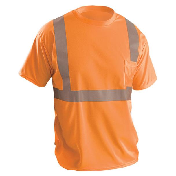 Occunomix Class 2 Hi Vis Moisture Wicking Birdseye T-Shirt with Pocket LUX-SSETP2B Orange Front