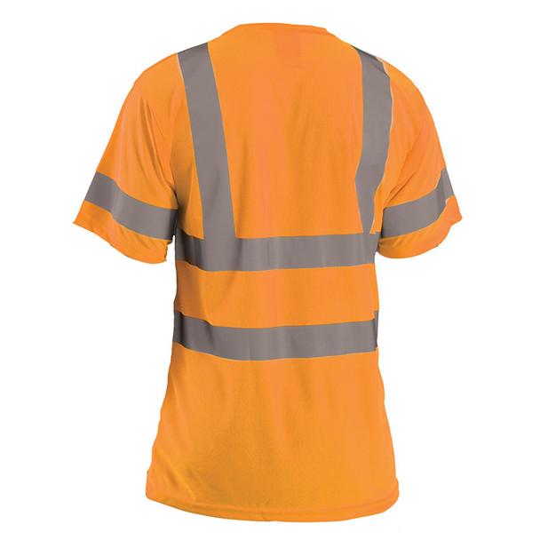 Occunomix Class 3 Hi Vis T-Shirt Moisture Wicking Birdseye with Pocket LUX-SSETP3B Orange Back
