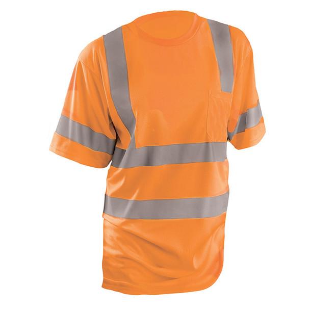 Occunomix Class 3 Hi Vis T-Shirt Moisture Wicking Birdseye with Pocket LUX-SSETP3B Orange Front