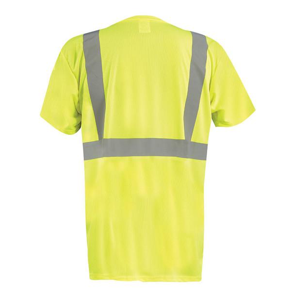 Occunomix Class 2 Hi Vis Black Bottom Moisture Wicking T-Shirt with Pocket LUX-SSETPBK Yellow Back