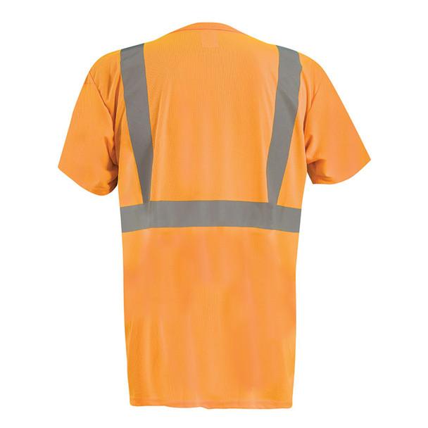 Occunomix Class 2 Hi Vis Black Bottom Moisture Wicking T-Shirt with Pocket LUX-SSETPBK Orange Back