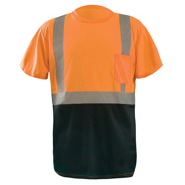 Occunomix Class 2 Hi Vis Black Bottom Moisture Wicking T-Shirt with Pocket LUX-SSETPBK Orange Front