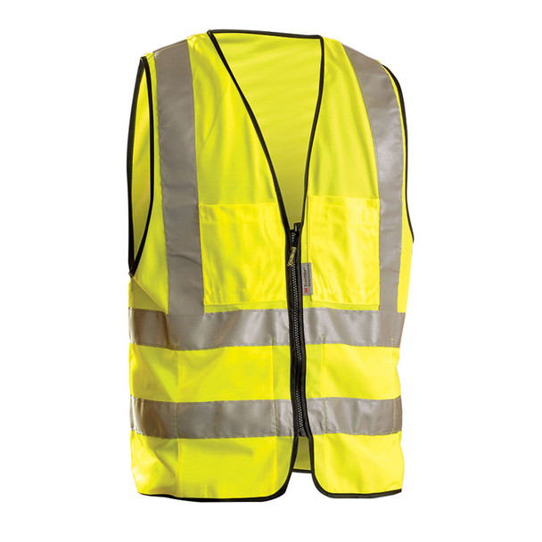 Occunomix Class 2 Hi Vis 12 Pocket Solid Polyester Surveyors Vest LUX-SSFS Yellow Front