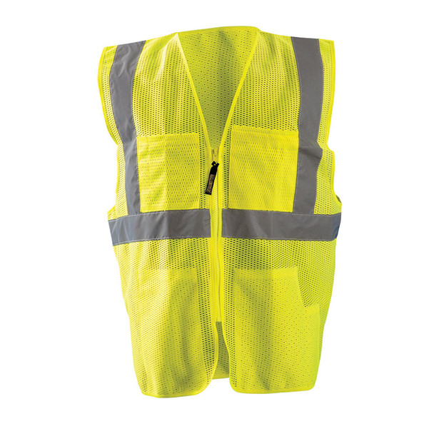 Occunomix Class 2 Hi Vis 12 Pocket Mesh Surveyors Vest LUX-SSGCS Yellow Front