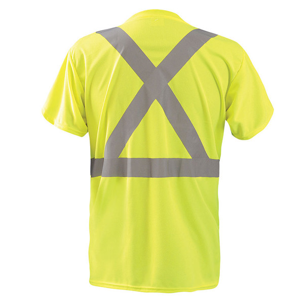 Occunomix Class 2 Hi Vis Moisture Wicking X Back Short Sleeve T-Shirt LUX-SSTP2BX Yellow Back