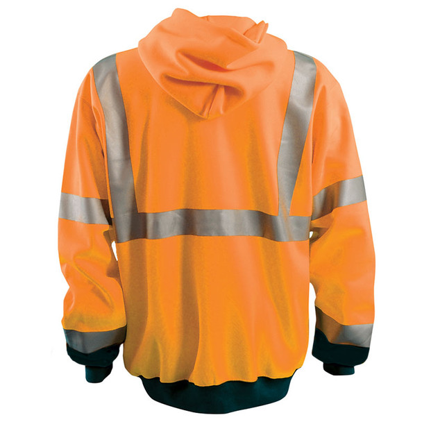 Occunomix Class 3 Hi Vis Black Bottom Zip-Up Hoodie LUX-SWTHZBK Orange Back