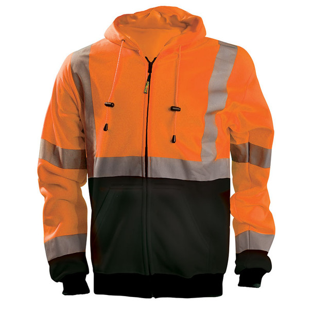 Occunomix Class 3 Hi Vis Black Bottom Zip-Up Hoodie LUX-SWTHZBK Orange Front