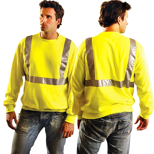 Occunomix Class 2 Hi Vis Yellow Crew Neck Sweatshirt LUX-SWTL Front/Back