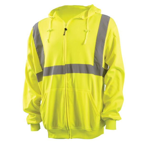 Occunomix Class 2 Hi Vis Yellow Zip Up Hooded Sweatshirt LUX-SWTLHZ Front