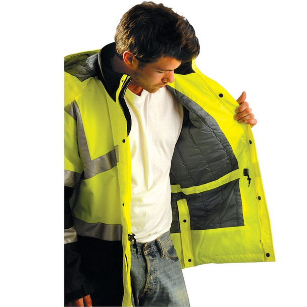 Occunomix Class 3 Hi Vis Insulated Waterproof Cold Weather Parka LUX-TJCW Inside