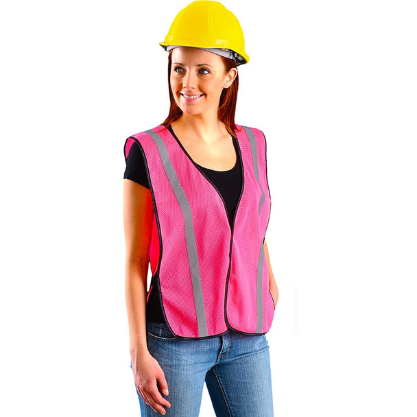 Occunomix Non-ANSI Pink Mesh Safety Vest With Reflective LUX-XSBML-P In Use