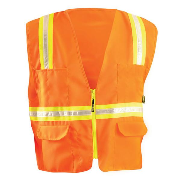 Occunomix Non-ANSI High Contrast Vest with Zipper Front LUX-XTRANS Orange Front