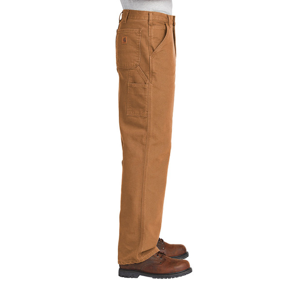 Carhartt Washed Duck Work Dungarees B11 Brown In Use Side