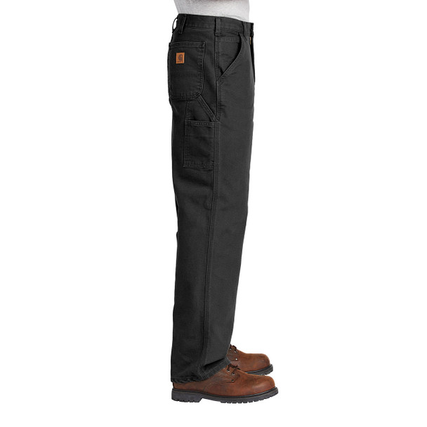 Carhartt Washed Duck Work Dungarees B11 Black In Use Side