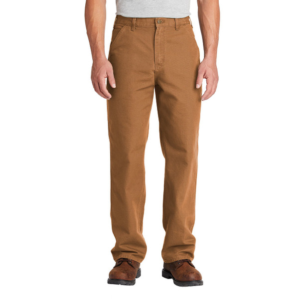 Carhartt Washed Duck Work Dungarees B11 Brown In Use Front