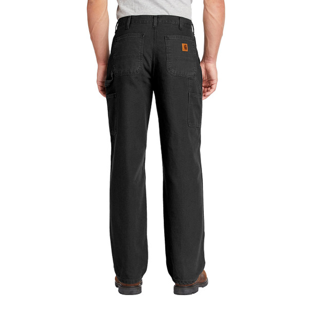 Carhartt Washed Duck Work Dungarees B11 Black In Use Back