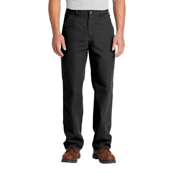 Carhartt Washed Duck Work Dungarees B11 Black In Use Front