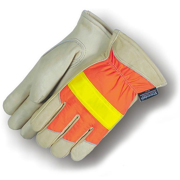 Majestic Box of 12 Pair Hi Vis Thinsulate Lined Leather Driving Gloves 1951