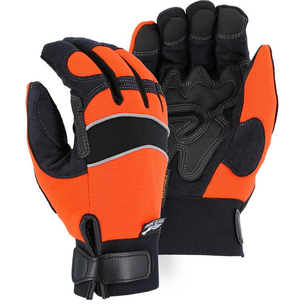 Majestic Case of 72 Pair Hi Vis Orange Winter Mechanics Gloves 2145HOH-CASE