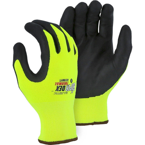 Majestic Box of 12 Pair Hi Vis Yellow Cold Weather SuperDex Gloves 3228HYT