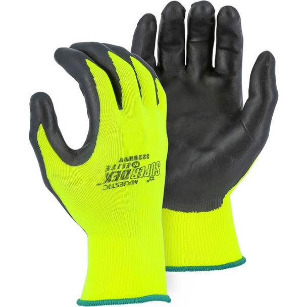 Majestic Box of 12 Pair Hi Vis Yellow SuperDex Heavyweight Foam Nitrile Coated Gloves 3229HVY