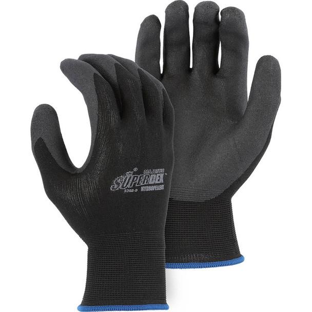 Majestic Box of 12 Pair Black SuperDex Crinkle Finish Gloves 3368